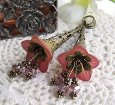 Lucite Trumpet Flower Earrings - Harmony - Hand Dyed layered floral earrings by White Raven Designs. $21.00, via Etsy.