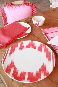 #red #ikat #pottery handmade in Mallorca By Teixits Vicens www.teixitsvicens.com