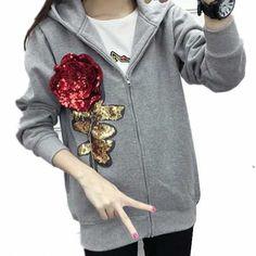 Sequins flower hoodie for women fleece hooded sweatshirt