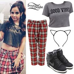 Becky G: 'Good Vibes' Crop Tee, Plaid Pants