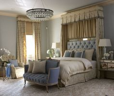 Beautiful powder blue and cream bedroom designed by Rinfret, Ltd. What a wonderful haven this would be after a long day.