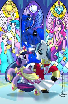 My Little Pony Friends Forever #4 Written by Rob Anderson Art by me, colours by Heather Breckel Cover by me :) This is out TODAY from IDW publishing. Thought I'd post the cover so you can see the full stained glass background. The MLP logo & cover dressing hid a bit of it ;)