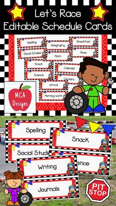 My Let's Race Editable Schedule Cards provide students with a visual tool to aid them in developing time concepts and self-regulation. Can be used in a pocket chart or as part of a bulletin board display. This product includes 67 schedule cards. In addition to my Ready-Made schedule cards featured in this product, I have also included an editable file so you can personalize these cards to suit your needs. #teacherspayteachers #tpt #classroommanagement #backtoschool #classroomdecorideas