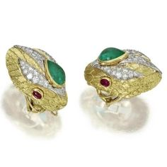 Pair of 18 Karat Gold, Platinum, Diamond, Emerald and Ruby Snake Earclips, David Webb