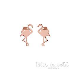 SUMMER SALE Pink Flamingo Earrings 9K Gold Earrings Rose