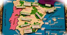 Mapa físico de España con elementos del relieve más importantes. Mapa físico de España en goma eva. Juego para aprender el relieve español. goma eva. Mapa físico España. Recurso educativo. Recurso didáctico.