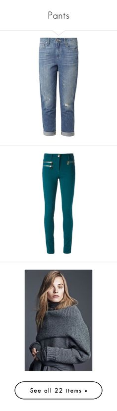 """""""Pants"""" by tavvvi ❤ liked on Polyvore featuring jeans, pants, bottoms, mid indigo, distressed boyfriend jeans, high waisted distressed boyfriend jeans, cropped boyfriend jeans, ripped denim jeans, high-waisted jeans and versace"""