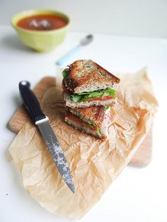 swiss chard white bean grilled sandwich.