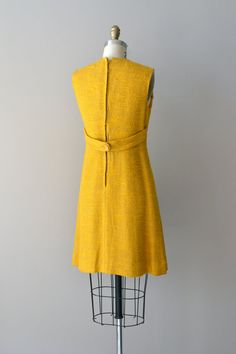 1960s dress / mustard shift dress / Mad about Saffron dress