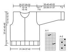 """Gestrickte DROPS Jacke in """"Safran"""" mit Häkelquadraten am unteren Rand. Größe 3 bis 12 Jahre. ~ DROPS Design"""