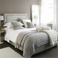 Furniture - Bedrooms : Luxury bedding : The White Company Bedding : Perfect Bed tips - Decor Object Grey And White Bedding, Grey Bedding, Luxury Bedding, Bedding Sets, Cream And Grey Bedroom, Neutral Bedding, Grey Headboard, Bedroom Neutral, Bedroom Colors