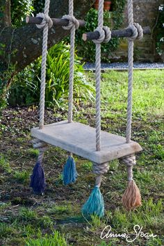 Annie had this swing made to hang in the garden at her house in France. It is made using oak and beautiful thick rope which has been frayed and dip-dyed in Chalk Paint®. Annie Sloan Furniture, Paint Furniture, Furniture Makeover, Houses In France, Rope Swing, Wooden Swings, Indoor Outdoor, Outdoor Decor, Annie Sloan Chalk Paint