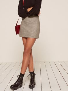 Autumn grey mini skirt Reformation