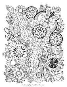 Free printable Summer coloring pages for use in your classroom and home from PrimaryGames. Print, color, and share with friends and family! Summer Coloring Pages eBook: Summer Flowers Adult Coloring Book Pages, Printable Adult Coloring Pages, Flower Coloring Pages, Mandala Coloring Pages, Coloring Pages To Print, Free Coloring Pages, Coloring Books, Summer Coloring Sheets, Coloring Pages For Kids