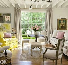 Beautiful...Things We Love: Mid-Century Modern Touches - Design Chic, Things We Love: Mid-Century Modern Touches - Design Chic, chic living room, neutral territory, chic interiors, living room, modern art, abstract art, yellow chair, pink color palette,color palette