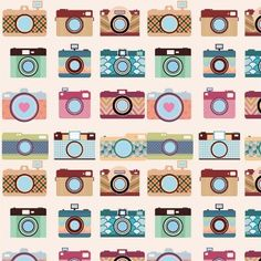 Tecido Adesivo em Poliéster 1m Máquinas Fotográficas (Encomenda) - loja de presentes - MariaPresenteira