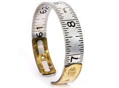 New Yorker, Jacqueline von Tesmar's  JacQ store on Etsy features vintage ruler bangles. The metal fold-out rulers were made by brand manufacturers such as Craftsman, Stanley and Lufkin.
