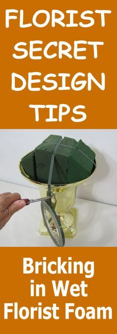 Taping Florist Foam into the Urn - Step by Step Wedding Tutorial Learn how to make bridal bouquets, wedding corsages, groom boutonnieres, reception table centerpieces and church flowers and decorations. Buy wholesale fresh flowers and discount florist supplies.