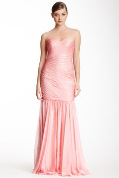 Sweetheart Sequin Pleated Gown
