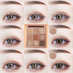 J Makeup, Pink Eye Makeup, Kiss Makeup, Makeup Geek, Eyeshadow Makeup, Makeup Cosmetics, Ulzzang Makeup Tutorial, Hooded Eye Makeup Tutorial, Makeup Looks Tutorial