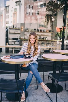 Gal Meets Glam Best San Francisco Coffee Shops - Calypso St. Barth sweater, J.Crew jeans, Lanvin sneakers and Coach bag c/o