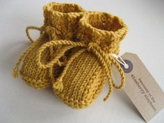 Yellow merino wool baby booties ankletie by TheBlueberryElephant, £19.99