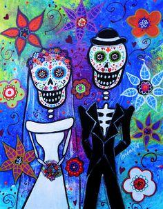 DIA De Los Muertos Art   ... De Los Muertos Painting - Married Couple Dia De Los Muertos Fine Art