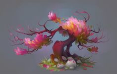 Apple Tree, Juliya Revina on ArtStation at https://www.artstation.com/artwork/W9XeN