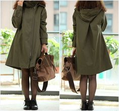Fabrics; Cotton   Lining Polyester    Color; Army green  Size  M; Shoulder 39cm, Bust 108cm, Sleeve 60cm, Cuff 26cm, Length 84cm, Hem 142cm   L; Shoulder