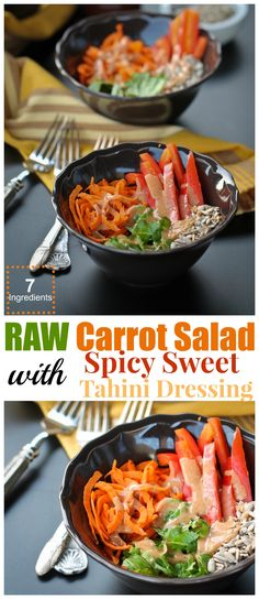 Raw Carrot Salad with Spicy Sweet Tahini Dressing! Whole recipe just 7 ingredients!