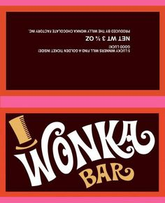 The outside of the Wonka bar invitation. I printed 2 on a sheet of a4 glossy photo paper with chocolate print on the other (matt) side.