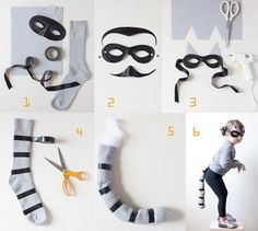 Have your kids made up their minds about what to wear for Halloween? Take a look at these Halloween costume ideas that are super cute, yet easy to make too! Diy Halloween, Halloween Arts And Crafts, Cute Halloween Costumes, Cat Costumes, Holidays Halloween, Raccoon Halloween, Costume Ideas, Burglar Costume, Animal Costumes Diy