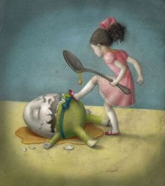 the beautiful and bizarre world of nicoletta ceccoli - whimsical surrealistic painting. Here, Alice crushes Humpty Dumpty. Arte Lowbrow, Art Fantaisiste, Art Beat, Mark Ryden, Humpty Dumpty, Whimsical Art, Surreal Art, Nursery Rhymes, Alice In Wonderland