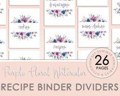 Purple Watercolor Floral Recipe Binder Dividers Printable | Etsy Homemade Cookbook, Binder Dividers, Crock Pot Desserts, Floral Theme, Binder Covers, Holidays With Kids, Floral Watercolor, Divider Design, Purple