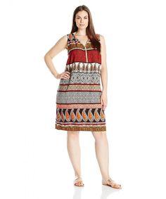 e2056bedb8adb Women s Plus Size Challi Printed Zipper Front Dress - Brown Mustard -  CH12D8EAUFP