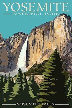 Yosemite Falls - Yosemite National Park California (12x18 Art Print Wall Decor Travel Poster) California National Parks, California Art, Yosemite National Park, California Travel, 3 Canvas Art, Big Canvas, Canvas Size, Yosemite Falls, Travel Yosemite
