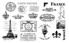 TJ Designs - Cling Mounted Rubber Stamp Collection by TweetyJill - Journey to France,$24.95