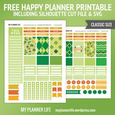 Free Printable St. Patrick's Day Planner Stickers {including Silhouette Cut Files & SVG} from My Planner Life