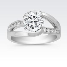 Swirl Diamond Engagement Ring with Channel Setting with Brilliant Round Diamond from Shane Co. Available with your choice of ruby, diamond or sapphire center stone.
