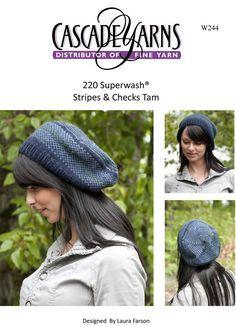 aa0d0776a0e Stripes   Checks Tam in Cascade 220 Superwash - W244 Free