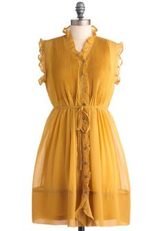 You Simply Mustard Dress, #ModCloth  Gold  Sleeves  Vintage