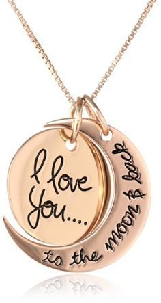"""Sterling Silver Rose-Gold Flashed """"I Love You To The Moon and Back"""" Two Piece Pendant Necklace, 18"""" Amazon Curated Collection,http://www.amazon.com/dp/B00HQAHLE0/ref=cm_sw_r_pi_dp_uCMytb1DMSMR0H8X"""