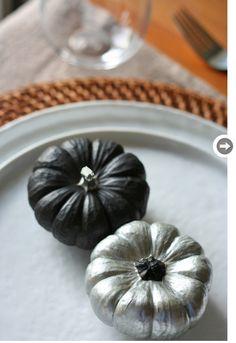 Halloween // Paint mini pumpkins using black and silver matte paint