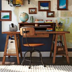 sawhorse desk + maps