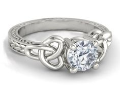 Wheat Engraved Celtic Engagement Ring