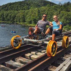 Railbiking with Revolution Rail Co. is a fun excursion activity that allows riders to pedal across railroad tracks and explore the Adirondacks. North Creek, Bicycles For Sale, Rail Car, I Love Ny, Jolie Photo, Bike Trails, Train Tracks, The Great Outdoors, Night Life
