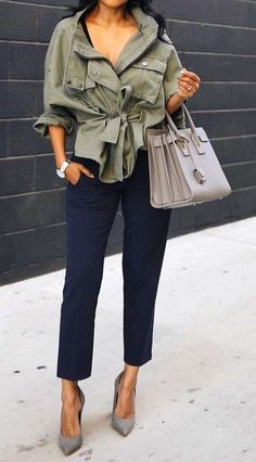 0407932cd6f  fall  fashion · Army Jacket + Blue Pants + Grey Pumps  amp  Bag