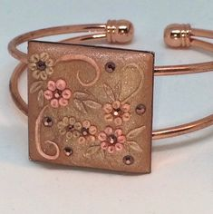 Floral Embrodidery Applique Polymer Clay Cuff Bracelet- rose pink gold spring flowers with rhinestones Romantic Roses, Organza Gift Bags, Rose Gold Plates, Bracelet Making, Spring Flowers, Pink Roses, Pink And Gold, Rhinestones, Embroidery Designs