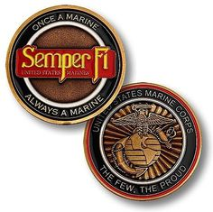 Commemorate America's elite fighting force with a USMC Semper Fi challenge coin. The reverse displays the renowned eagle, globe and anchor emblem of the U.S. Marine Corps. The obverse features the leg