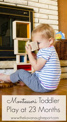 A look at a Montessori play shelf at 23 months old! Here are some Montessori friendly toy ideas for nearly 2-year-olds.